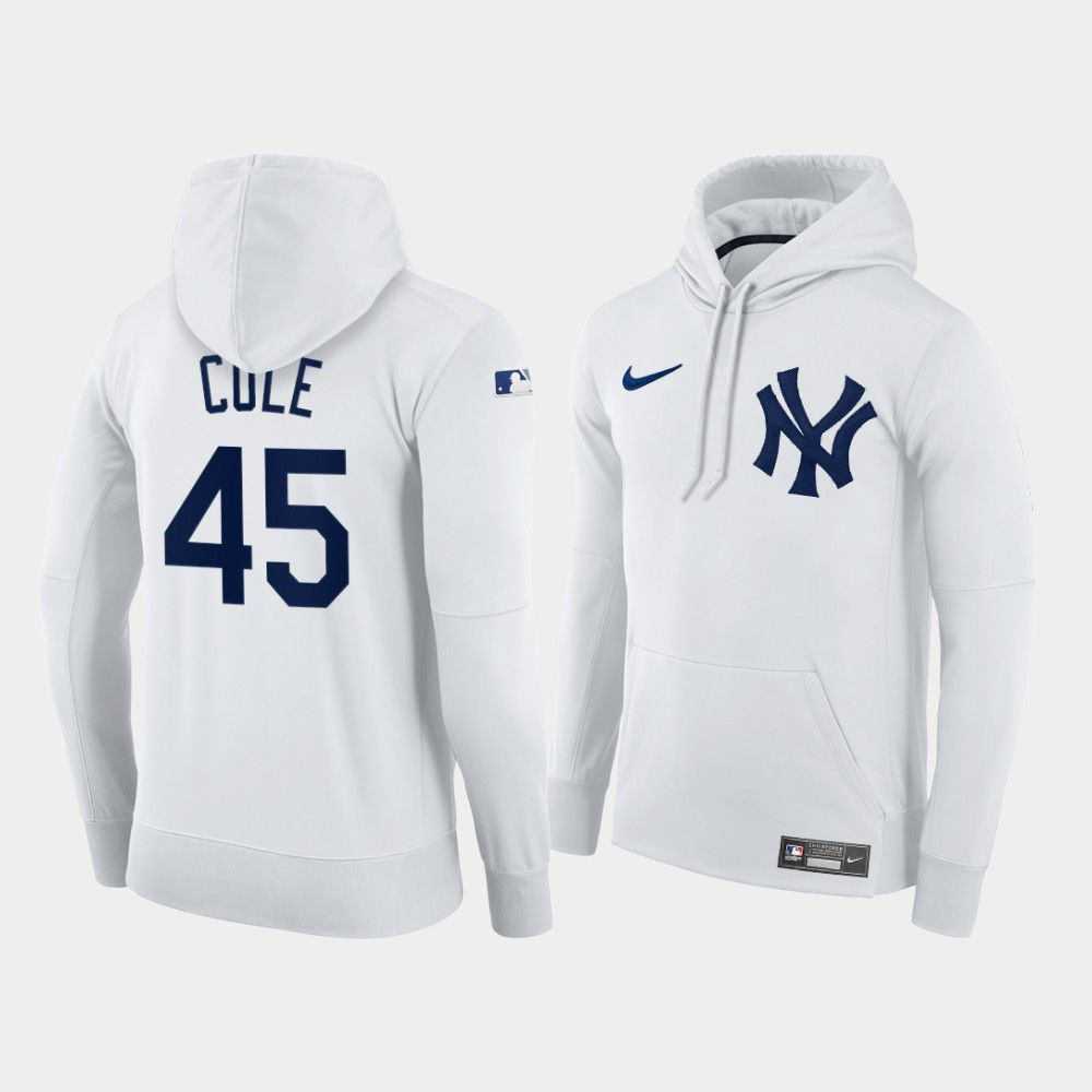 Cheap Men New York Yankees 45 Cole white home hoodie 2021 MLB Nike Jerseys